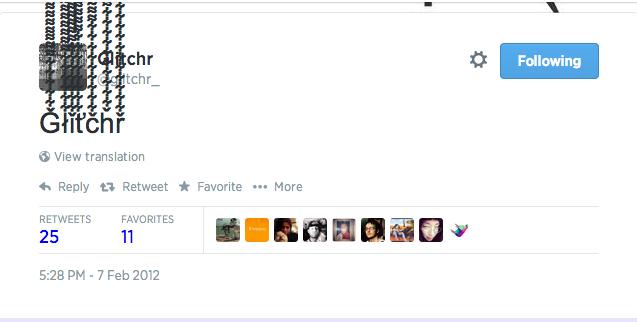 Glitchr's 1st Tweet